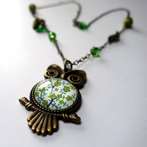 Owl necklace Tree of the greenfinch