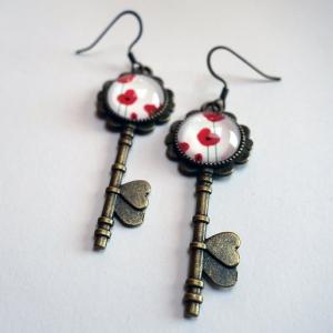 Boucles d'oreilles clés Coquelicots