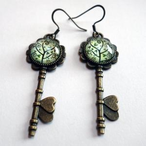 Boucles d'oreilles clés Arbre à spirales