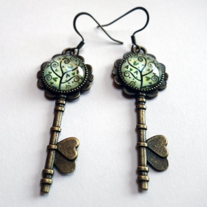 Key earrings Spiral tree