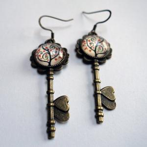 Boucles d'oreilles clés Arbre à coeurs rouges