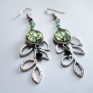 Leaf earrings Spirals tree