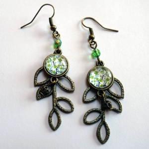 Leaf earrings Tree of the greenfinch