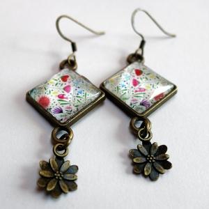 Boucles d'oreilles losange Bouquet de fleurs