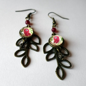 Leaf earrings Pink bird
