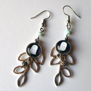 Leaf earrings Snowy owl