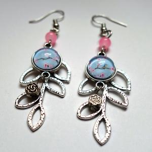 Boucles d'oreilles feuille Sakura