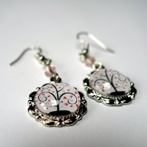 Earrings Pink hearts tree