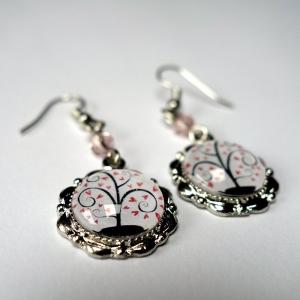 Earrings Pink hearts tree