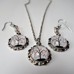 Jewelry set Pink hearts tree