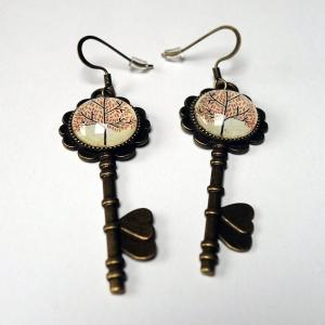 Boucles d'oreilles clés Arbre beau