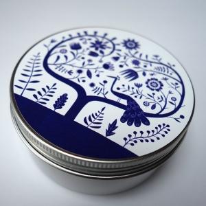 Boîte à miscellanées ronde Paon bleu