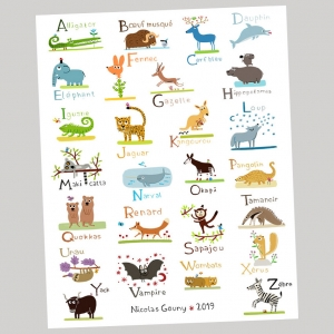 Print 40x50 ABC of wild animals