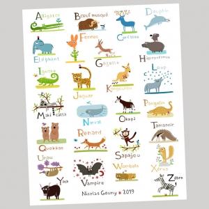 Print 40x50 ABC of wild animals