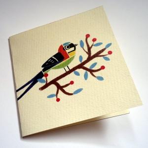 Carte Oiseaux patchwork