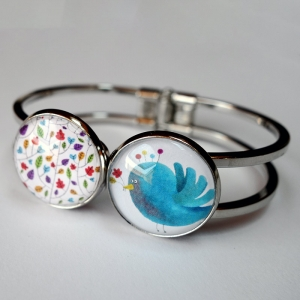 Double bracelet Colors and blue bird