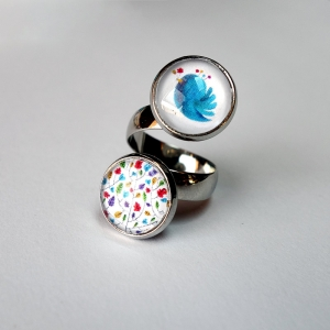 Double ring Colors and blue bird