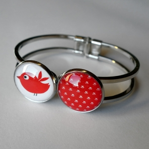Double bracelet Vermilion and red bird