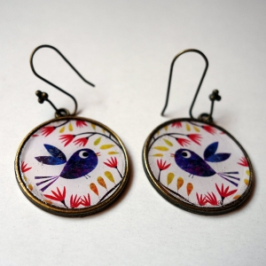 Earrings Blue bird