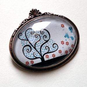 Broche Arbre à coeurs bleus