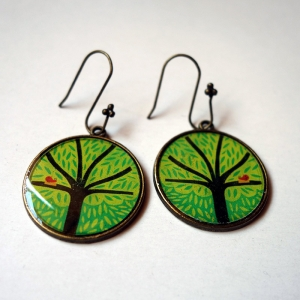 Earrings Green tree