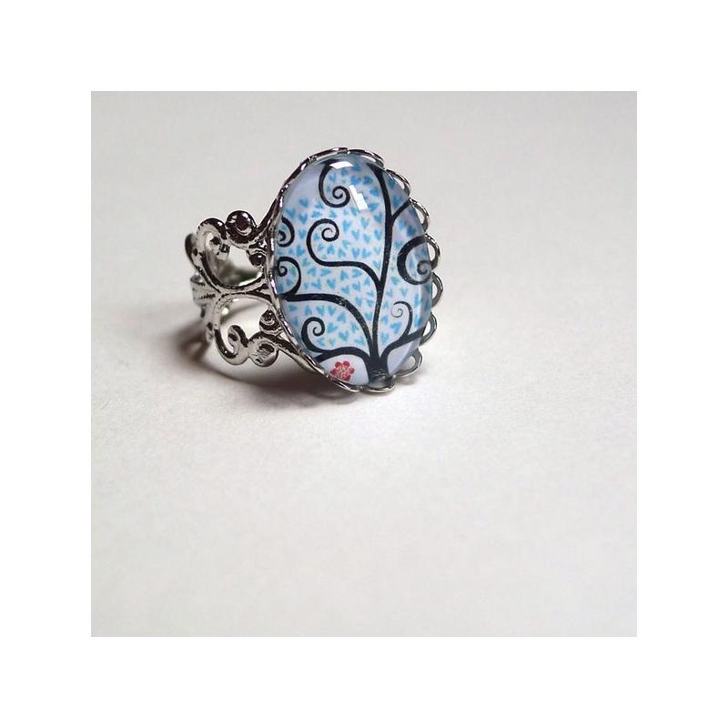 Bague vintage Arbre à coeurs bleus