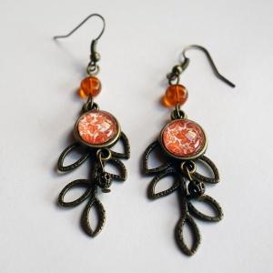Boucles d'oreilles feuille Feuilles d'érable oranges