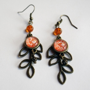 Leaf earrings Orange maple leaves