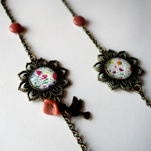 Long necklace Bouquet of flowers