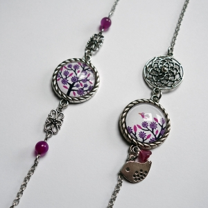 Long necklace Violet tree