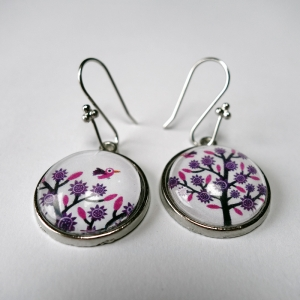 Earrings Violet tree