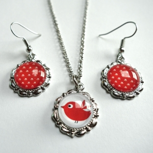 Jewelry set The red bird