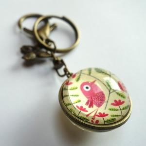 Porte-clé réversible Bel oiseau rose