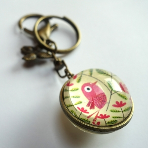 Reversible keychain Beautiful pink bird