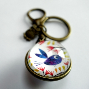 Reversible keychain Beautiful blue bird