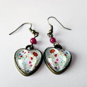 Boucles d'oreilles coeurs Bouquet de fleurs