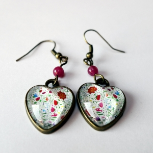 Heart earrings Bouquet of flowers