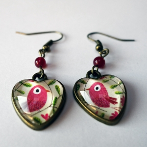 Heart earrings Pink bird