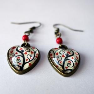 Boucles d'oreilles coeurs Arbre à coeurs rouges
