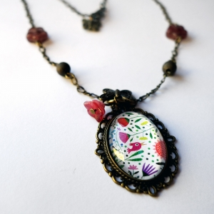 Vintage necklace Bouquet of flowers