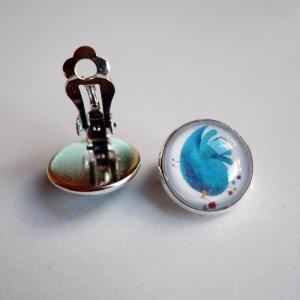 Clips d'oreilles Moineau bleu