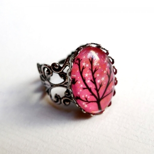 Vintage ring Sparkling tree