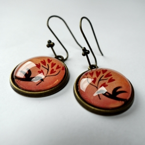 Earrings Bird of hearts