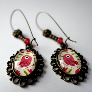 Earrings Pink bird