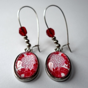 Earrings Red hydrangeas