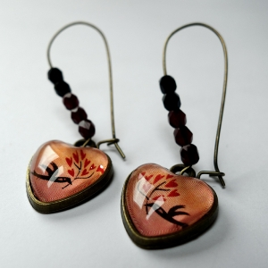 Earrings Hearts bird