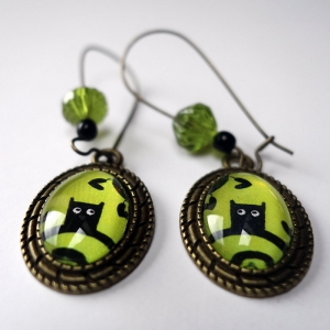 Earrings Green owl