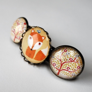 Barrette Tiny fox and the birds tree