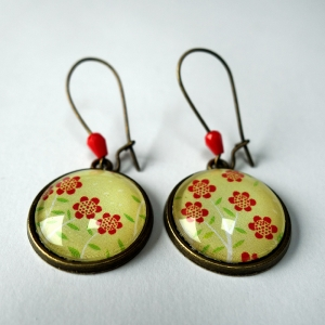 Earrings Little red flowers