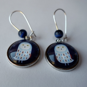 Earrings Snowy owl